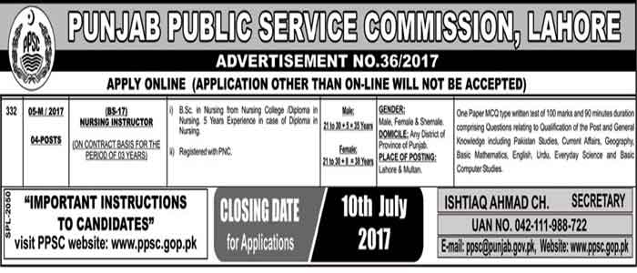 Latest PPSC 2017 Nursing Instructor Jobs on Contract Basis