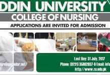 Admission Open in Ziauddin University College of Nursing
