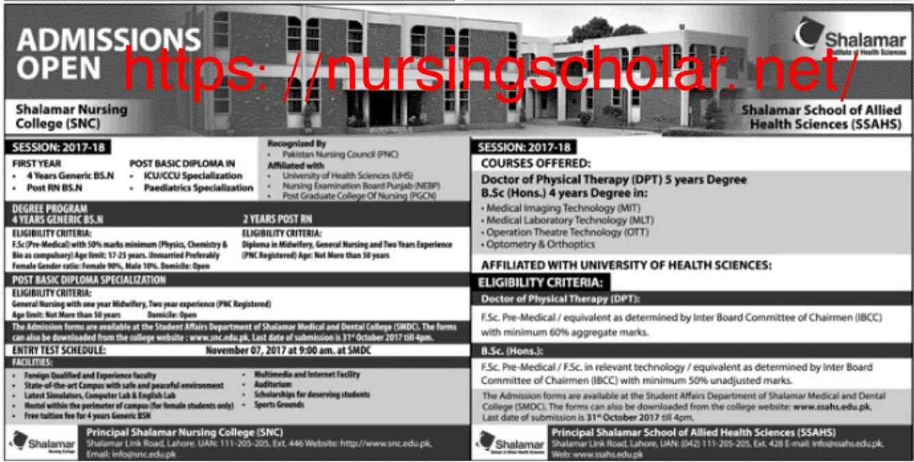 shalamar nursing college lahore admissions 2017