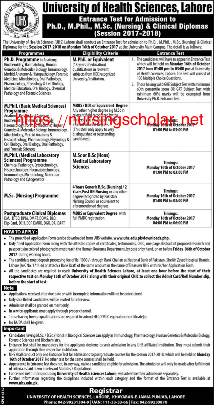 MSN admission in Univeristy of Health Sciences Lahore