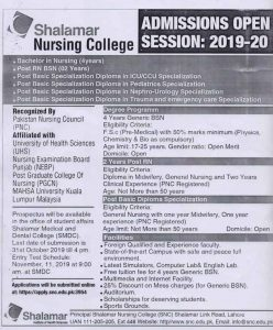 Shalimar College of Nursing Admission 2019