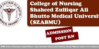 Post RN Admissions College of Nursing SZABMU