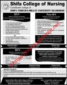 Admission Open Shifa College of Nursing 2018