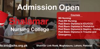 Shalimar College of Nursing Admissons Open
