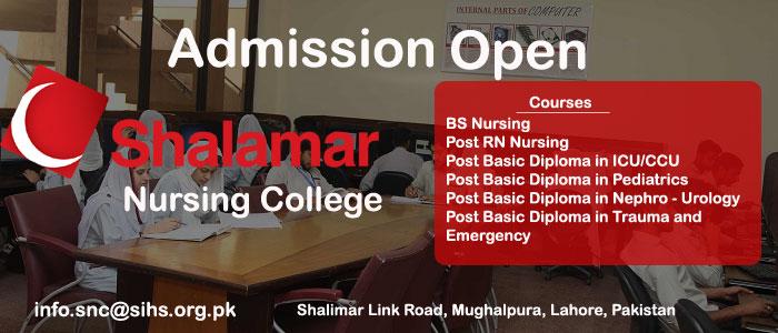Shalamar Nursing College Lahore Admissions 2019 for BS Nursing