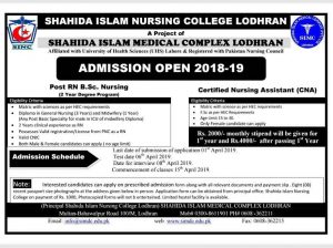 Post RN and CNA Admission at SINC