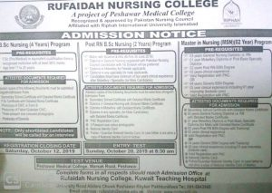 Rufaidah Nursing College Admissions 2019 for BSN, Post RN and MSN 2019