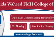 Saida Waheed FMH College of Nursing Admission 2019