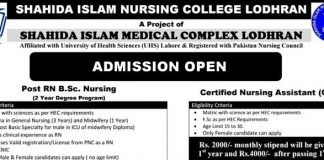 Shahida Islam nursing college admissions are open for session 2019