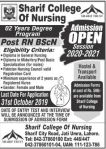 Sharif College of Nursing Admission 2019 for Post RN