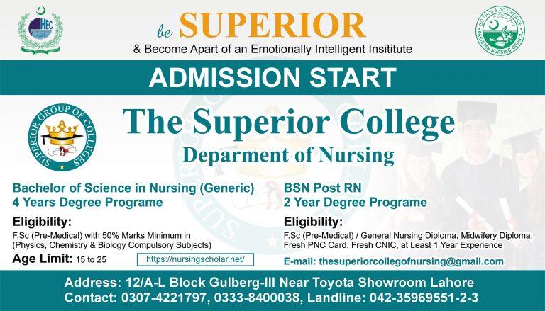 The Superior College of Nursing  Admission 2021