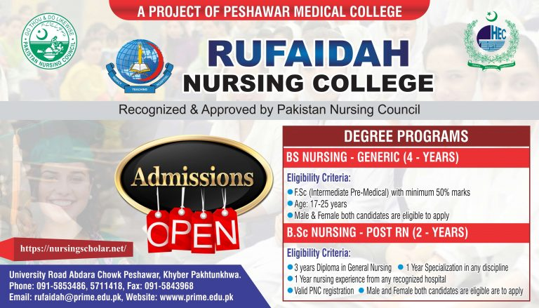 Rufaidah Nursing College Admissions 2021 for BSN, Post RN and MSN